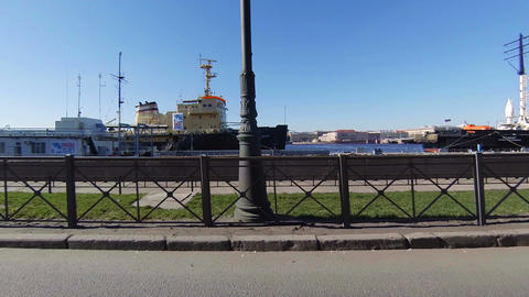 Ships on the waterfront in St. Petersburg Footage