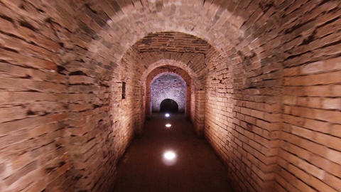 Corridor In The Fort, Brick Walls And Arches stock footage