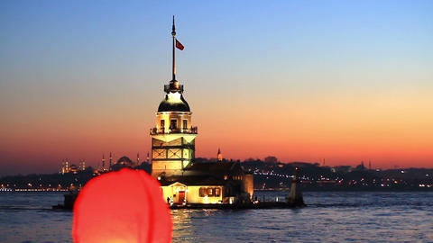 Chinese Paper Lantern Flying Up In Istanbul, Turkey stock footage