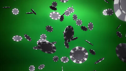 silver Casino color chips dropping slope green Animation
