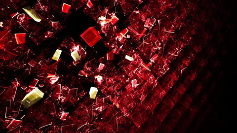 Explosion Of Red Cubic Particles Animation