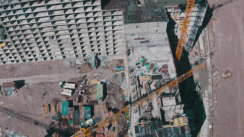 Flying Above Unfinished Buildings stock footage