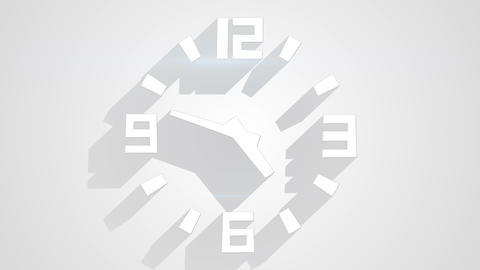 wall clock on white with long shadows loop timelapse 4k (4096x2304) Animación