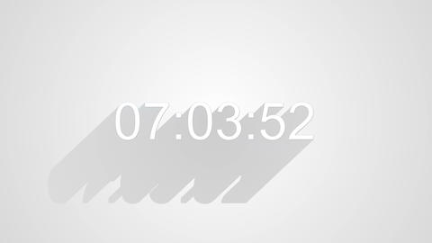 digital clock timer on white long shadows 4k (4096x2304) Animation
