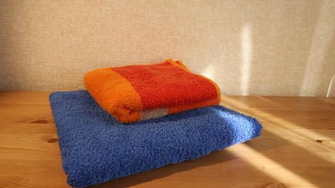Blue and orange towels Footage