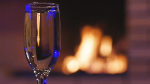 Glass Of Sparkling Wine stock footage