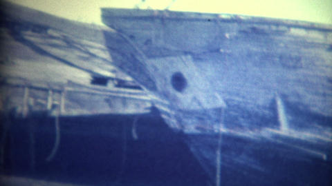 (8mm Vintage) Old Ships on Shore Footage