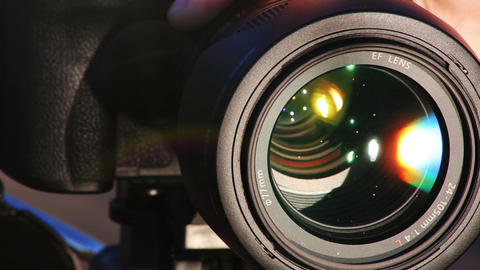 Zooming Lens. Close-up shot of professional camera. HD 1080 Footage