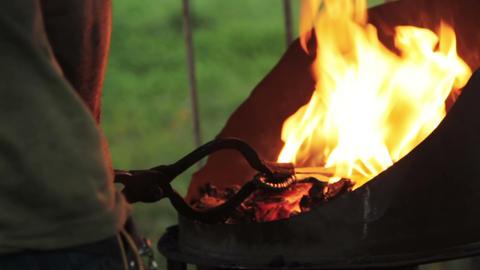 Blacksmith forged iron knife Footage