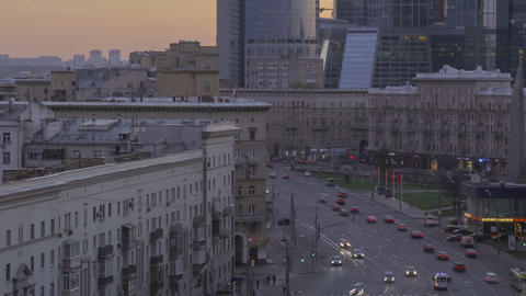 Moscow traffic during sunset zoom out timelapse 4K Footage