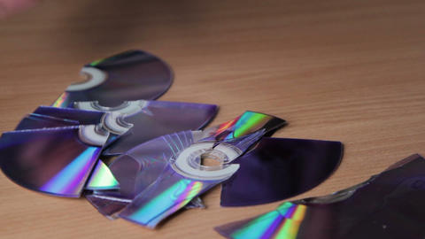 Pieces of broken CD, DVD Footage