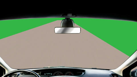 View Of Road, From Inside Car, Animation (Looping + Green Screen) stock footage