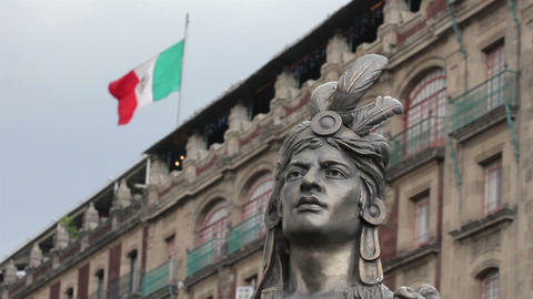 Mexico City, Mexico-August 2014: MEDIUM SHOT-BLUR EFFECT. Moctezuma's Statue stock footage