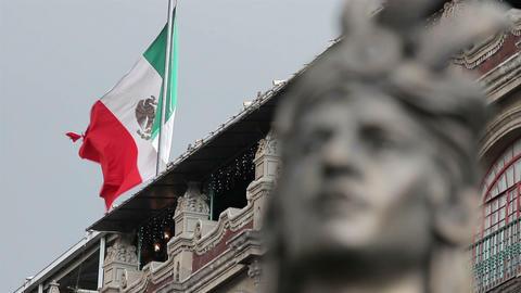 Mexico City, Mexico-August 2014: CLOSE UP-BLUR EFFECT.Moctezuma's Statue Live Action