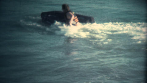 (Super 8 Vintage) Man Attempting to Ride JetSki Fail Footage