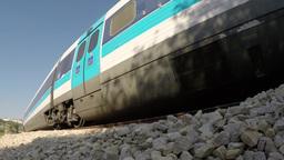 Train from Jerusalem to Hertsliya/ Tel Aviv passes by Footage