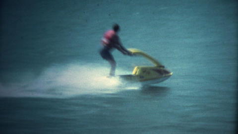 (Super 8 Vintage) Old Yellow Jetski Making Turn Footage