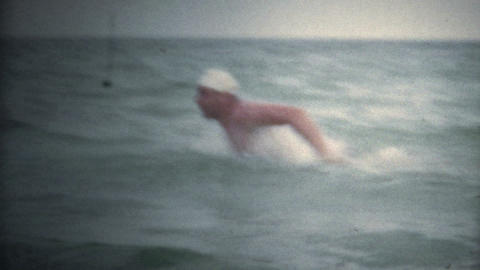 (Super 8 Vintage) Man Butterfly Swimming Open Water Footage