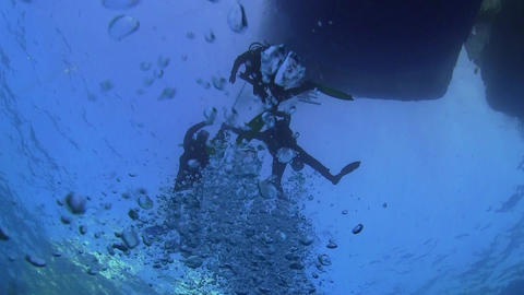 Divers Preparing To Dive stock footage
