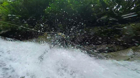 Canyoning instructor HD Footage