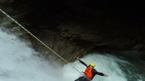 Outdoor Waterfall Canyoning Extreme Sport Footage