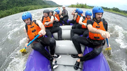 Tourists on white water rafting expedition Footage