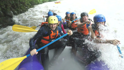 Whitewater rafting boat onboard camera HD Footage