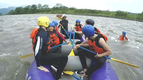 Whitewater rafting boat jump HD Footage