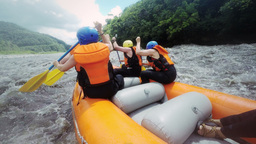 White Water Rafting Trip On Pastaza River Ecuador stock footage