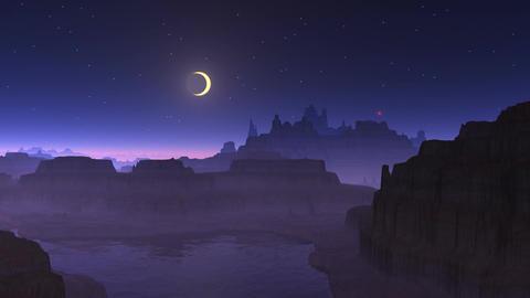 Shooting star, moon and mountain lake Animation