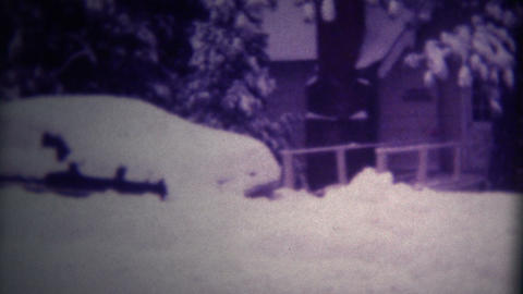 (Super 8 Film) Cars Buried Heavy Snow 1975 Footage
