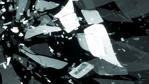 Glass shattered and broken slow motion and motion blur. Alpha matte Animation