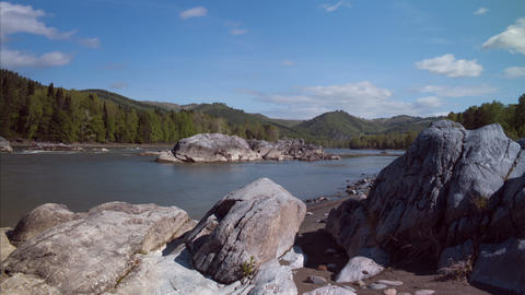 Timelapse River With Stone Under Blue Sky With Clouds stock footage
