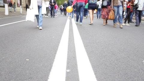 people walking on city street Footage