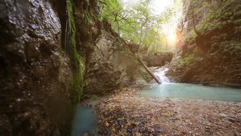 Waterfall Rufabgo In North Caucasus Russia stock footage