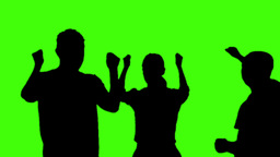 Silhouette People Party On Green Screen stock footage