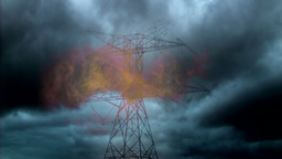 Lightning striking the electricity tower Animation