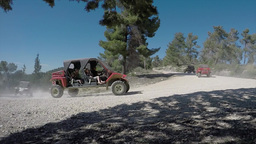 Group Of Quad Bikes Passing By, Offroad - Fast Motion stock footage