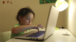 Pre-school Child With Computer stock footage