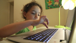 Low Angle Of Girl With Laptop stock footage