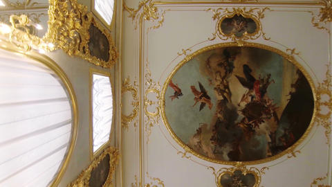 Gorgeous ceilings and interiors of the Catherine Palace in St. Petersburg Footage