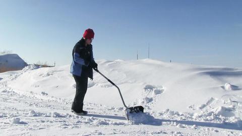 Man Shoveling Snow Footage