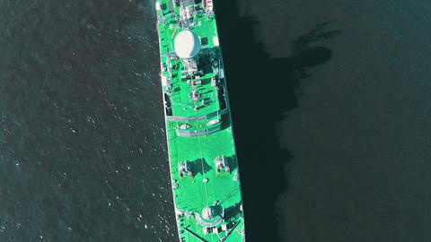 Aerial View Warship Moored on Buoys Footage