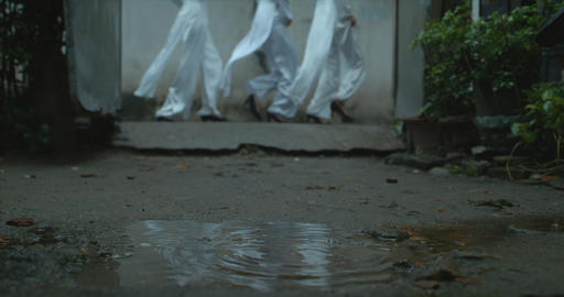 girls running with water drop Footage