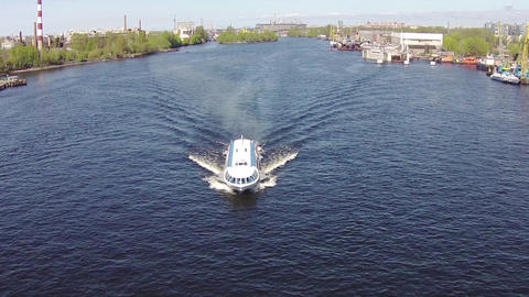 Aerial View To High-Speed Hydrofoil Boat stock footage