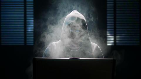 internet hacker heavy smoking 4k UHD 11624 Footage