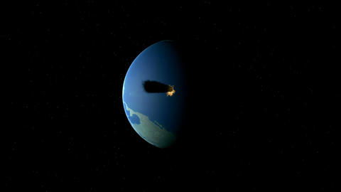 Asteroid crashing with Earth Animation
