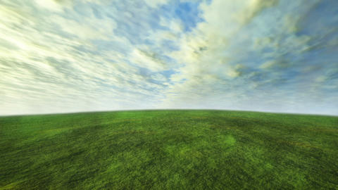 cloud and grass time lapse with green concept Animation