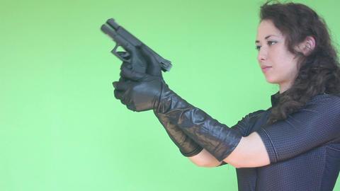 Green Screen Girl Shooting With Gun 1 stock footage