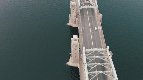 Aerial View Metal Bridge over River Footage